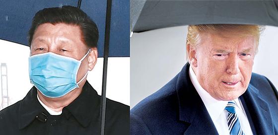지난 3월 시진핑 중국 국가주석(왼쪽)이 닝보-저우산(寧波舟山) 항구를 찾아 물류를 점검하는 모습. 도널드 트럼프 미국 대통령(오른쪽)이 비슷한 시기 백악관 언론 브리핑에서 발언하고 있다. [신화·로이터=연합통신]