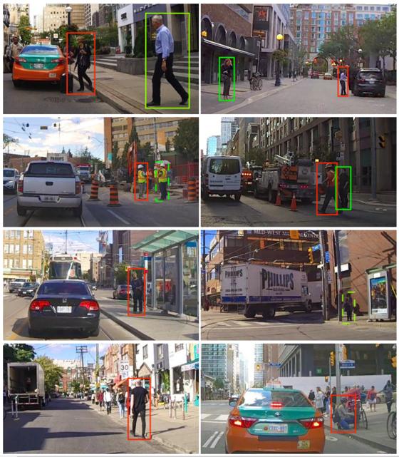 〈그림1〉 기계가 인식한보행자의 행동 예측 결과. 길을 건널 의도가 있는 사람은 초록색으로,의도가 없는 사람은 붉은 색으로 표기됐다. Rasouli et al.(2019) 발췌.