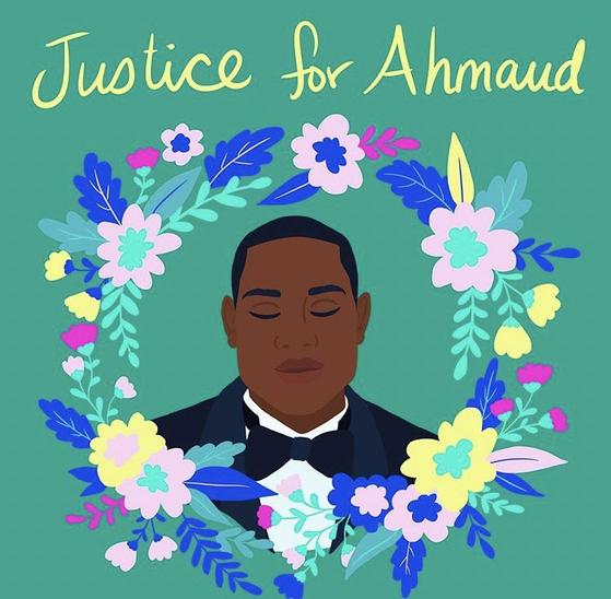 25세에 숨진 흑인 청년 아흐마우드 알버리를 추모하는 뜻으로 트위터에 올라온 그림 [트위터]