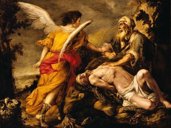 유대교에 등장하는 천사. 아브라함이 아들을 제물로 바치려고 하자 천사가 말리고 있다. [중앙포토]