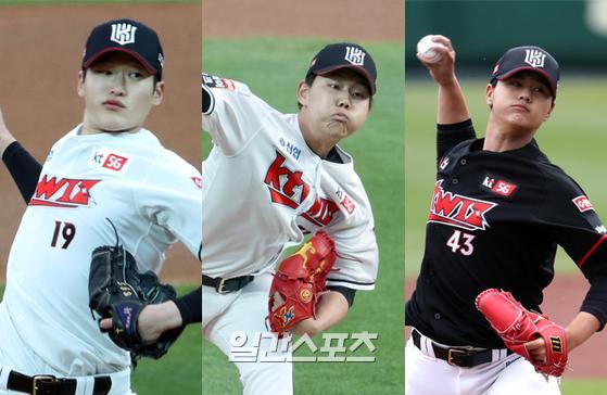 KT의 영건 선발 3인방 배제성(왼쪽부터)·소형준·김민. IS포토
