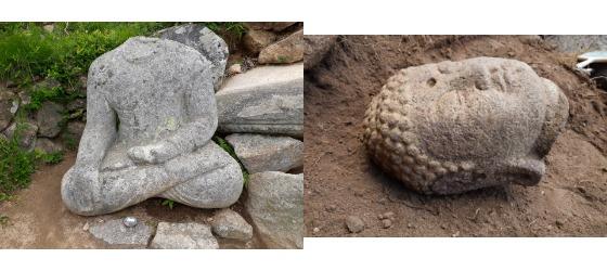 최근 발굴조사 끝에 마침내 불두(오른쪽)가 발견된 경주 약수곡 석조여래좌상. [사진 문화재청]