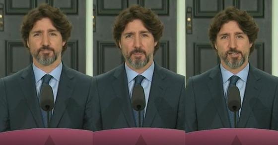 쥐스탱 트뤼도 캐나다 총리가 2일(현지시간) 정례브리핑에서 도널드 트럼프 미국 대통령 관련 질문을 받았지만 곧바로 답을 하지 못한 채 당황한 표정을 짓고 있다. [CTV Network=CNN 캡처]