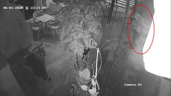 지난 1일 오후 11시 21분 부산지검 현직 부장검사 A씨가 한 여성을 뒤쫓다가 횡단보도 앞에 서 있던 여성 어깨에 두 손을 뻗어 만지고 있다. 연합뉴스
