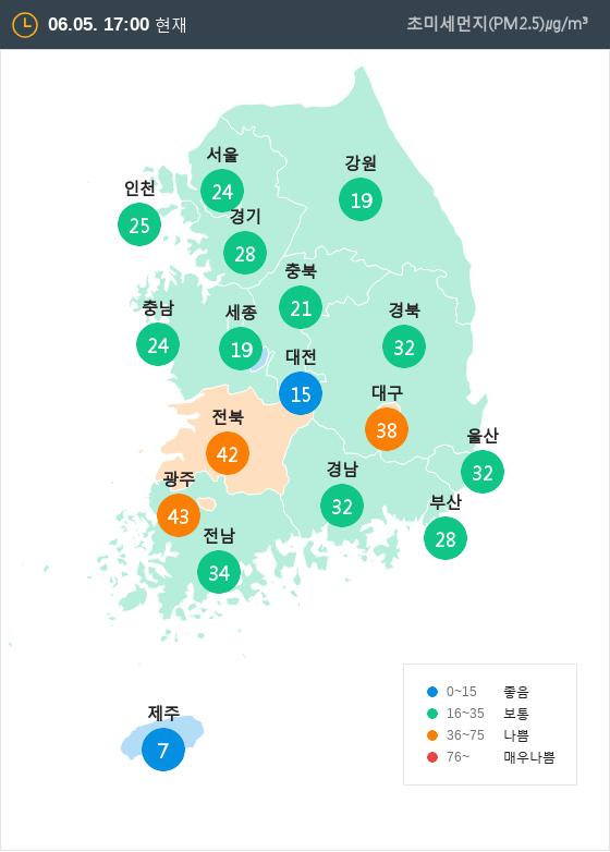 [6월 5일 PM2.5]  오후 5시 전국 초미세먼지 현황
