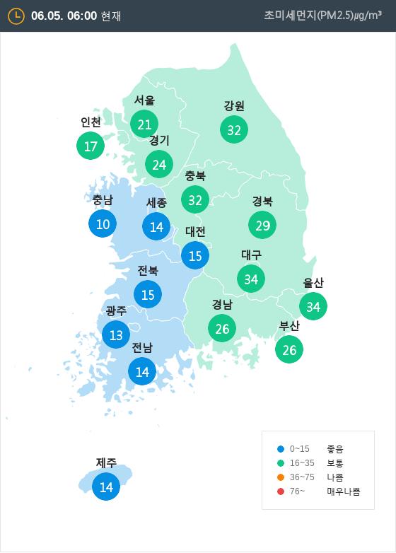 [6월 5일 PM2.5]  오전 6시 전국 초미세먼지 현황