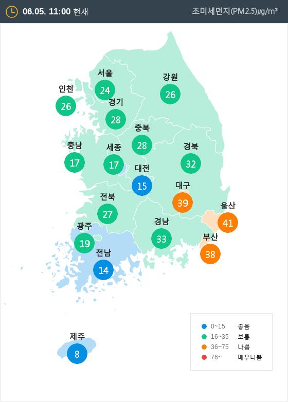 [6월 5일 PM2.5]  오전 11시 전국 초미세먼지 현황