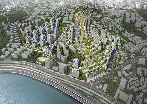 서울 용산구 한남3구역이 5000여가구의 아파트 촌으로 재개발할 계획이다. 사진은 조감도.