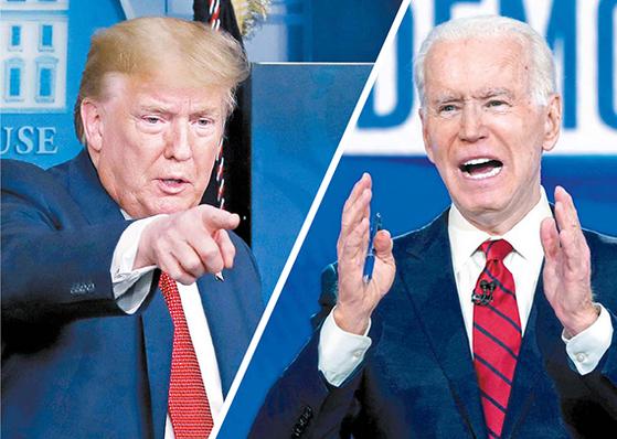 4월 16일 백악관에서 브리핑 중인 도널드 트럼프 미국 대통령(왼쪽)과 지난달 대선후보 토론에 참석한 조 바이든 전 부통령. [AP·로이터=연합뉴스]