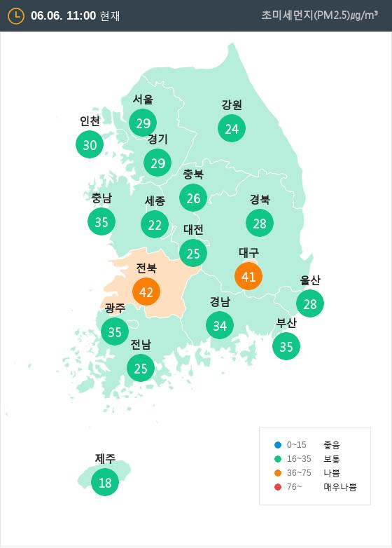 [6월 6일 PM2.5]  오전 11시 전국 초미세먼지 현황