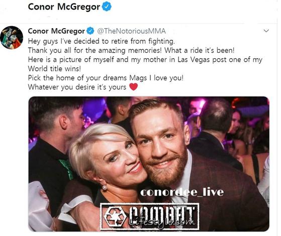 자신의 소셜 미디어에 은퇴를 알린 UFC 파이터 코너 맥그리거. [사진 맥그리거 트위터]