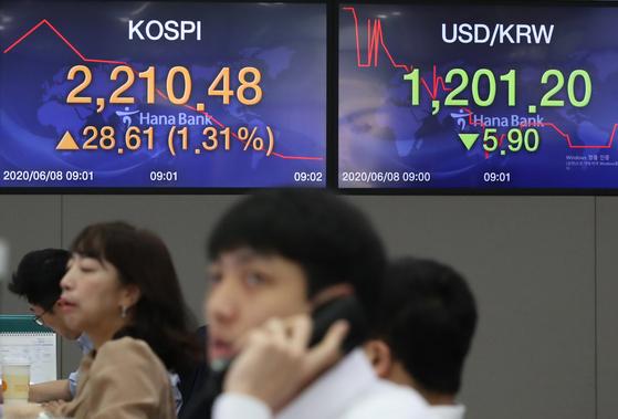 8일 코스피가 1% 넘는 상승세로 출발하면서 2월 말 이후 석 달 반 만에 장중 2200선을 돌파했다. 연합뉴스