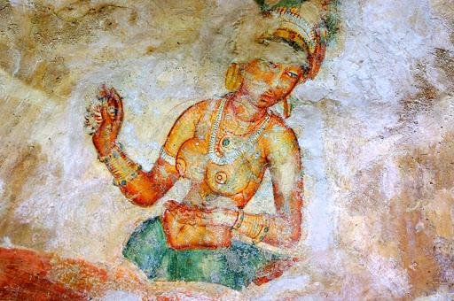 고대 스리랑카의 벽화. 당시 스리랑카는 인도 문화권이었다. 이 벽화를 통해 부처님 당시의 인도 여성들의 옷차림을 엿볼 수 있다. [중앙포토]