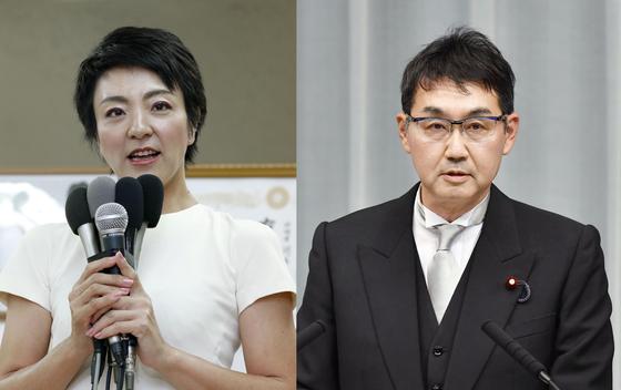 가와이 가쓰유키 전 일본 법무상(오른쪽)과 그의 부인 가와이 안리 의원(참의원)은 지난해 7월 참의원 선거 과정에서 지역 의원들에게 돈을 뿌린 혐의를 받고 있다. [연합뉴스]