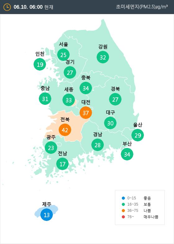 [6월 10일 PM2.5]  오전 6시 전국 초미세먼지 현황