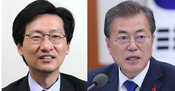 강규형 명지대 교수와 문재인 대통령. 중앙포토.