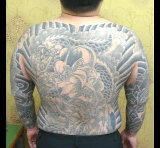 검거된 범서방파 조직원 문신. 중앙포토