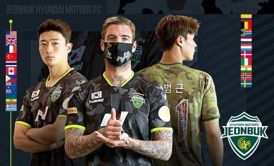 순국선열 헌정 유니폼을 입은 전북 현대의 조규성, 벨트비크, 송범근(왼쪽부터). [사진 전북 현대]