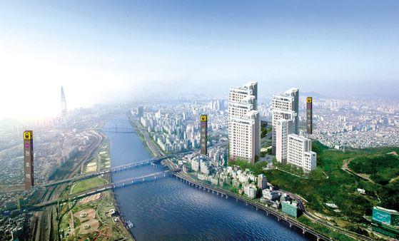 주변 아파트 시세의 거의 절반 수준에 공급 중인 한강 광장 조감도. 공급가가 저렴한 데다, 주변에 개발호재가 많아 적지 않은 시세차익이 기대된다.