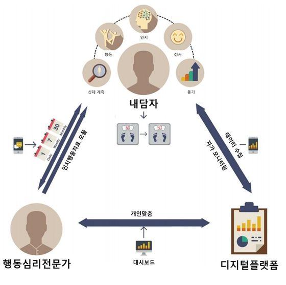 서울의대 최형진 연구팀은 인지행동치료와 디지털 기술을 접목해 비만치료가 가능한 '디지털 인지행동치료제'를 개발했다. 그림은 디지털 인지행동치료 개요. 사진 서울대병원