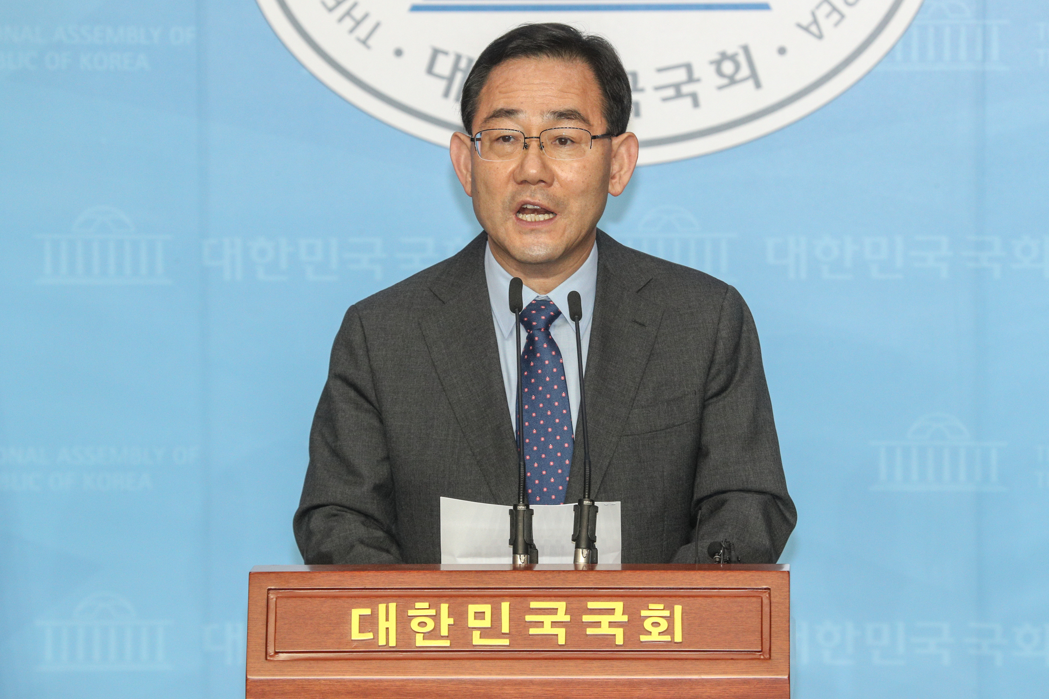 주호영 미래통합당 원내대표가 15일 서울 여의도 국회 소통관에서 원 구성 관련 기자회견을 하고 있다. 뉴스1