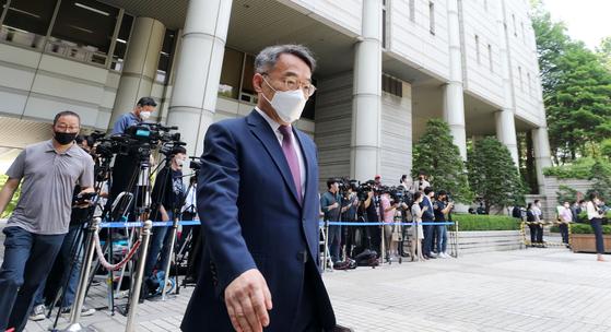 임종헌 전 법원행정처 차장이 서울중앙지법에서 열리는 재판에 출석하는 모습. [뉴스1]