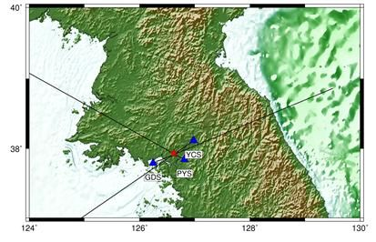 음파가 관측된 지점(빨간색)과 음파 관측소(파란색) 위치. 기상청 제공