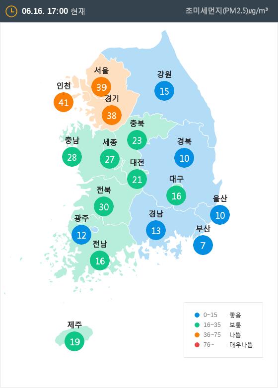 [6월 16일 PM2.5]  오후 5시 전국 초미세먼지 현황