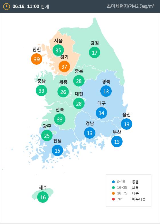 [6월 16일 PM2.5]  오전 11시 전국 초미세먼지 현황