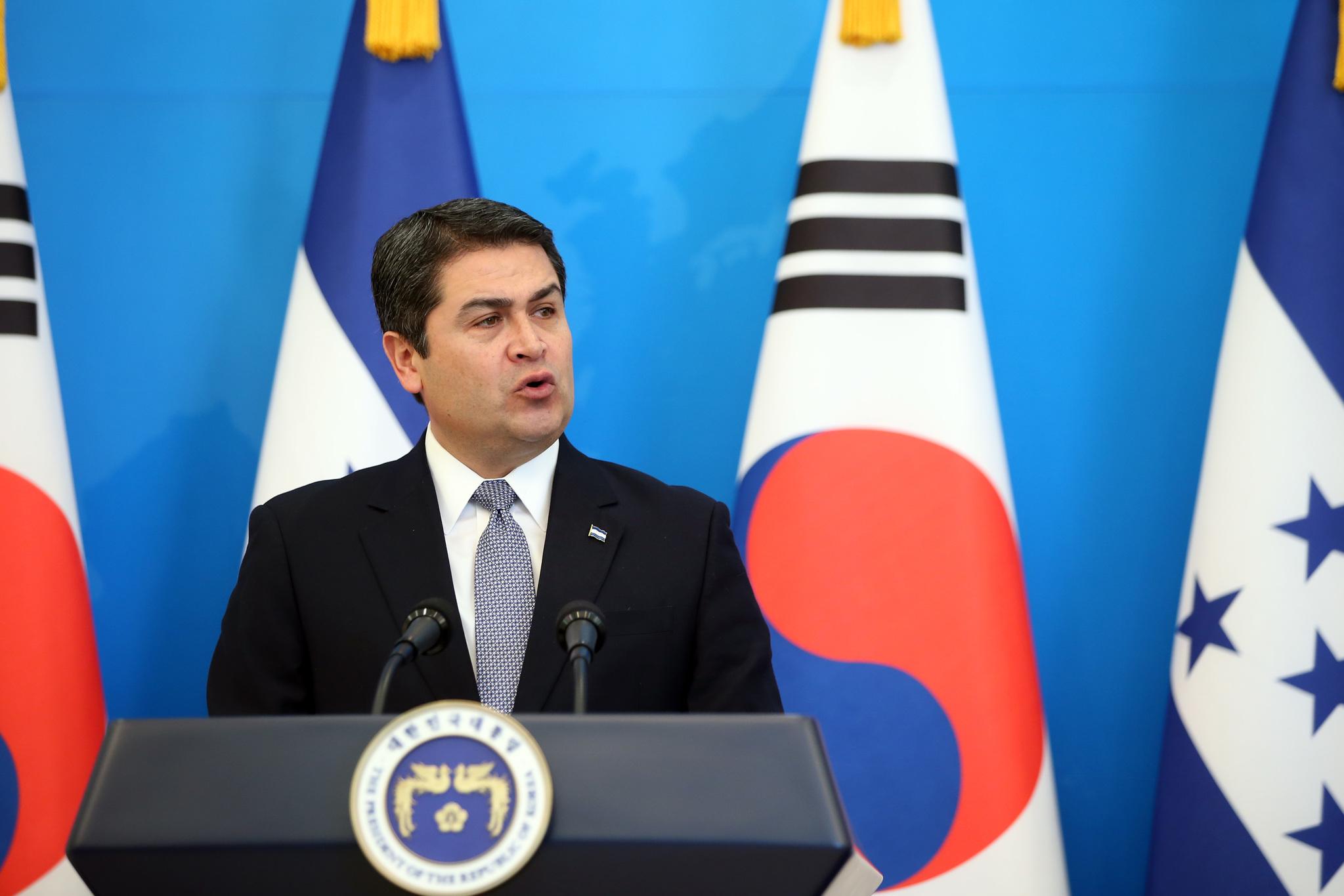 후안 오를란도 에르난데스 온두라스 대통령. 청와대사진기자단