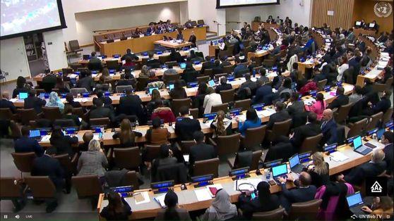 지난해 11월 14일 유엔본부에서 유엔총회 산하 제3위원회 회의가 진행되고 있다. 인권담당 제3위원회는 이날 회의에서 북한의 인권침해를 비판하고 즉각적인 개선을 촉구하는 북한인권결의안을 통과시켰다. [유엔 웹TV 캡처]