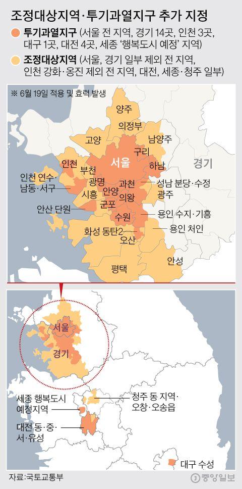 조정대상지역·투기과열지구 추가 지정. 그래픽=김주원 기자 zoom@joongang.co.kr