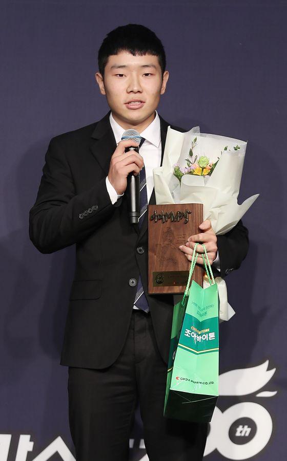 2019년 조아제약 야구대상에서 아마선수상을 받은 김지찬