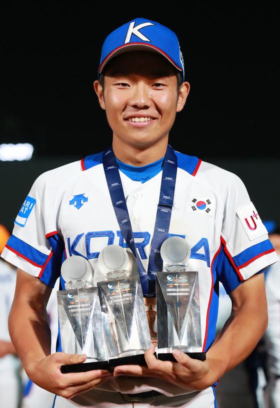 지난해 18세 이하 세계야구선수권에서 3관왕에 오른 김지찬. [연합뉴스]