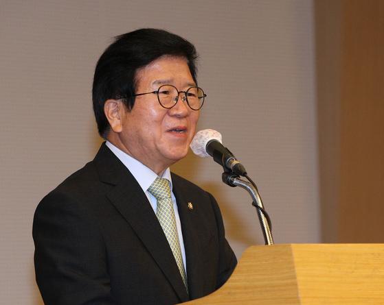 박병석 국회의장이 17일 오후 서울 여의도 국회도서관에서 열린 포스트코로나 내외포럼 발족식에서 인사말을 하고 있다. 뉴스1