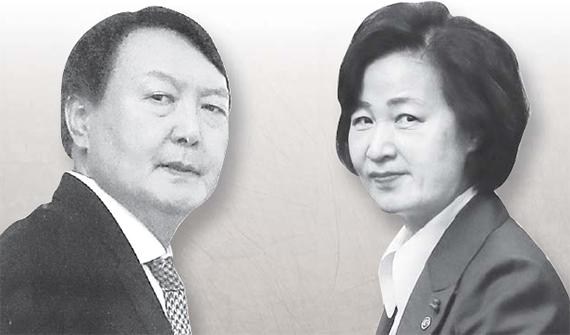 윤석열 검찰총장(왼쪽)과 추미애 법무부장광. 중앙포토