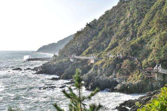 부산 남구 용호동 이기대공원의 해안절경과 산책로. 부산시