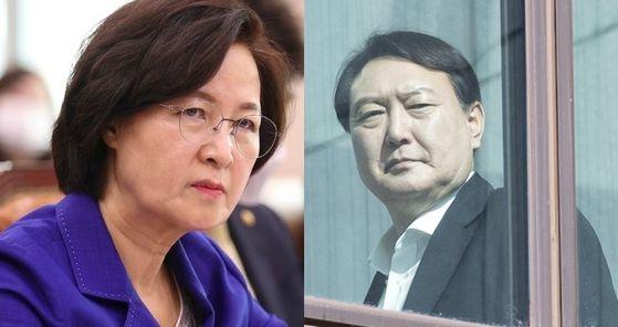 추미애 법무부 장관과 윤석열 검찰총장. 중앙포토·연합뉴스