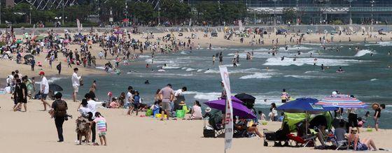 해수욕장에서 시민들이 선텐과 물놀이를 하며 더위를 식히고 있다. [연합뉴스]