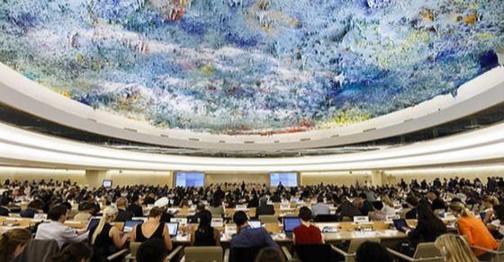 유엔 제네바 사무국에서 열리는 유엔인권이사회 총회 모습. AP=연합뉴스