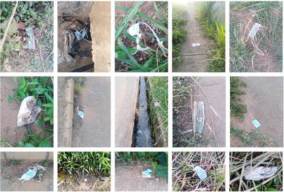 아프리카 나이지리아에서 확인된 마스크 오염 사례 (논문에 게재된 사진)