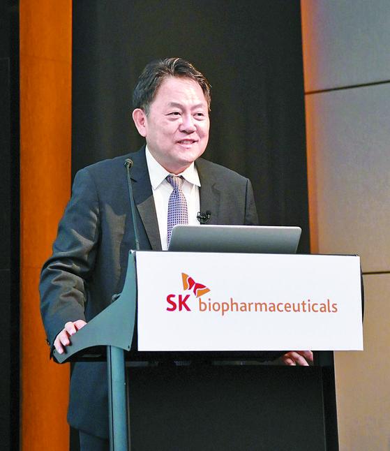 조정우 SK바이오팜 사장이 지난 15일 온라인 기자간담회에서 공모주 청약과 관련한 회사의 계획을 설명하고 있다. [사진 SK바이오팜]