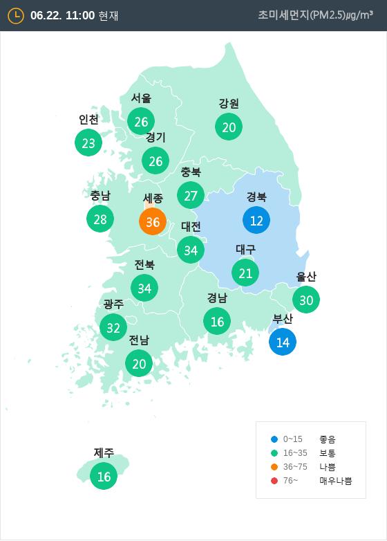 [6월 22일 PM2.5]  오전 11시 전국 초미세먼지 현황