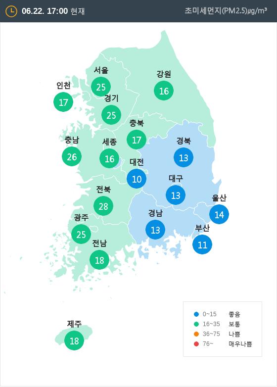 [6월 22일 PM2.5]  오후 5시 전국 초미세먼지 현황