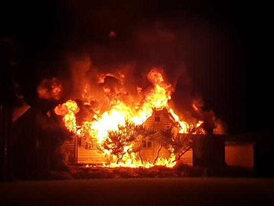 가평군 단독주택 화재 현장. [가평소방서 제공]