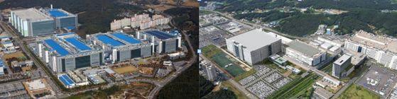 삼성디스플레이(왼쪽)과 LG디스플레이 공장 전경