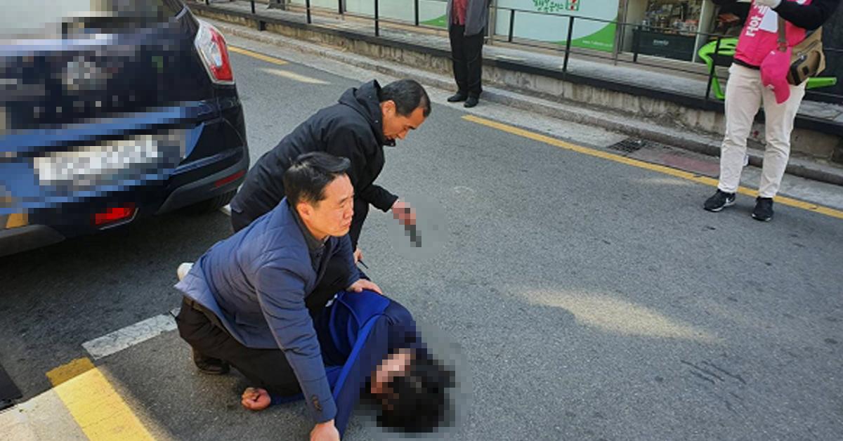 지난 4월 9일 오세훈 미래통합당 서울 광진을 후보의 선거유세 현장에 한 남성이 흉기를 들고 난입했다. 사진 오세훈 후보 캠프