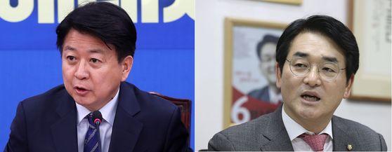민주당 노웅래 의원(왼쪽)과 박용진 의원. 뉴스1. 중앙일보 임현동 기자.