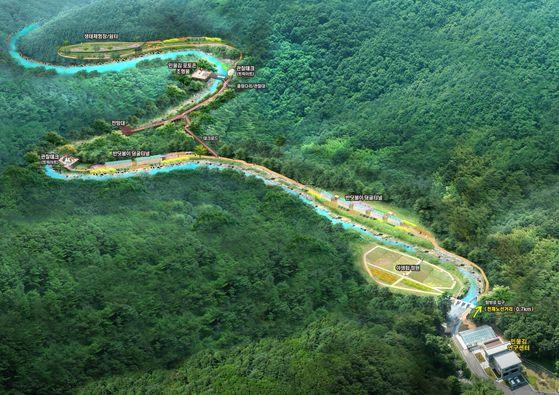 국내에서 유일하게 '민물김'이 자생하고 있는 강원 삼척시 근덕면 소한계곡의 생태탐방로 조감도. 사진 민물김연구센터.