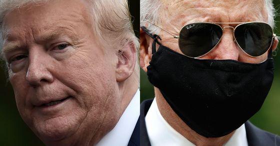 지난달 25일 마스크를 쓰지 않은 채 백악관 경내를 걸은 도널드 트럼프 미국 대통령(왼쪽)과 같은 날 마스크를 쓰고 메모리얼 데이 헌화에 나선 조 바이든 전 부통령. [AFP=연합뉴스]